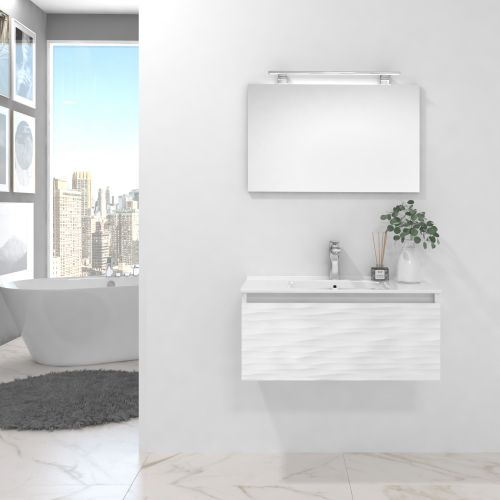 Pack BLANC blanco brillo lacado 80 cm+lavabo+espejo+foco led