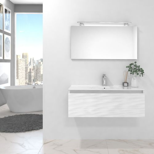 Pack BLANC blanco brillo lacado 100 cm+lavabo+espejo+foco led