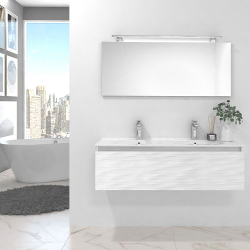 Pack BLANC blanco brillo lacado 120 cm+lavabo+espejo+foco led