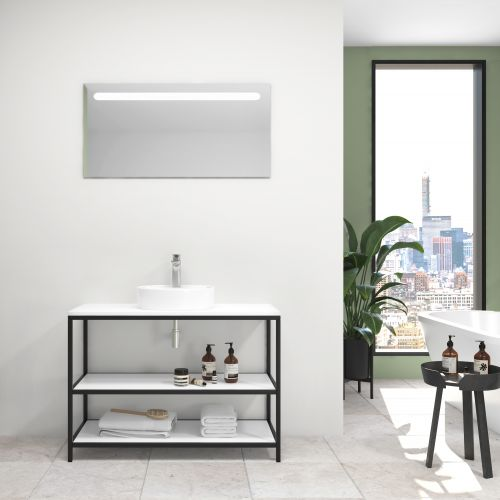 Pack ACIER blanco brillo 100 cm + lavabo + espejo led