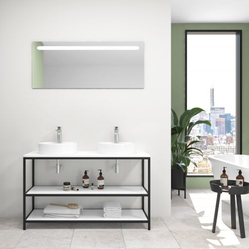 Pack ACIER blanco brillo   120 cm + lavabo + espejo led